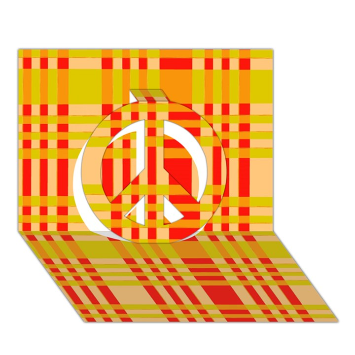 Check Pattern Peace Sign 3D Greeting Card (7x5)