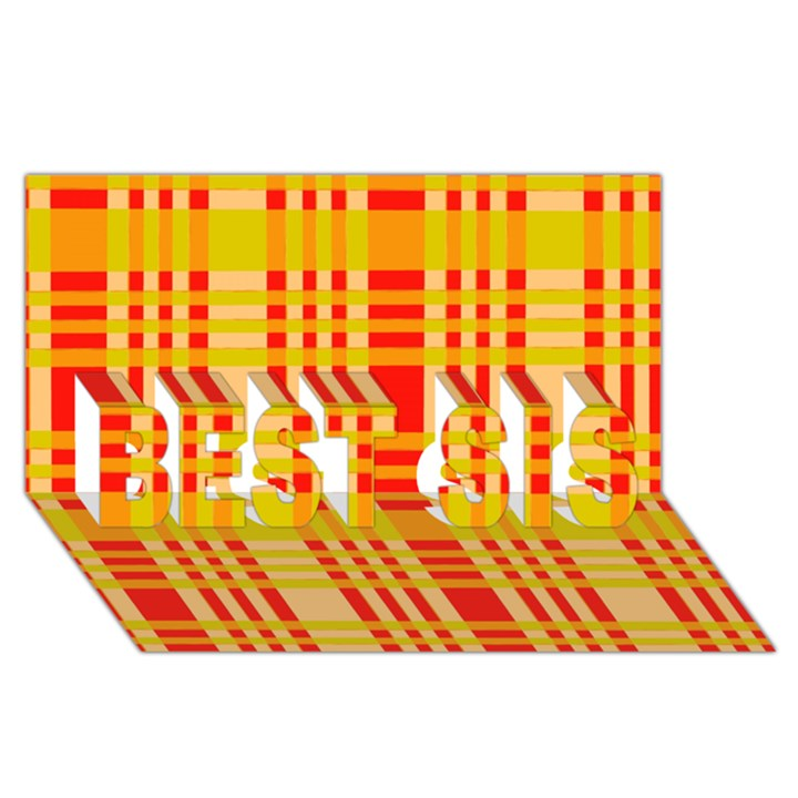 Check Pattern BEST SIS 3D Greeting Card (8x4)