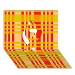 Check Pattern Ribbon 3D Greeting Card (7x5)