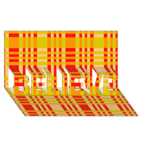Check Pattern BELIEVE 3D Greeting Card (8x4)