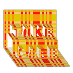 Check Pattern TAKE CARE 3D Greeting Card (7x5)