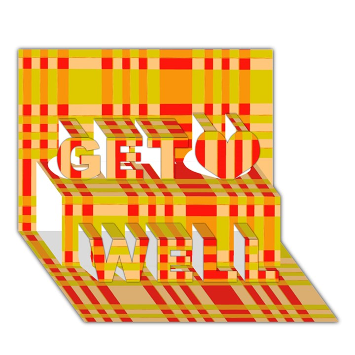 Check Pattern Get Well 3D Greeting Card (7x5)