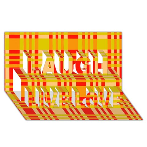 Check Pattern Laugh Live Love 3D Greeting Card (8x4)