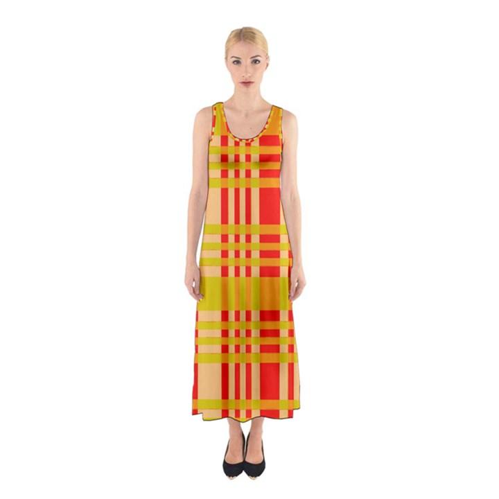 Check Pattern Sleeveless Maxi Dress