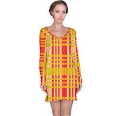 Check Pattern Long Sleeve Nightdress