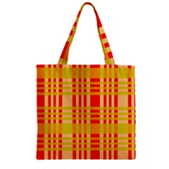 Check Pattern Zipper Grocery Tote Bag