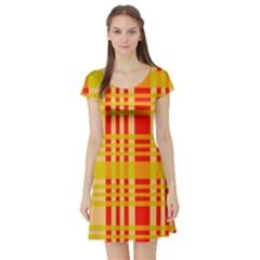 Check Pattern Short Sleeve Skater Dress