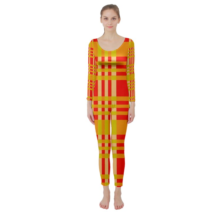 Check Pattern Long Sleeve Catsuit