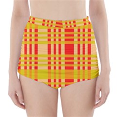 Check Pattern High-Waisted Bikini Bottoms