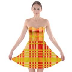 Check Pattern Strapless Bra Top Dress