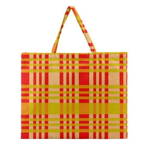 Check Pattern Zipper Large Tote Bag