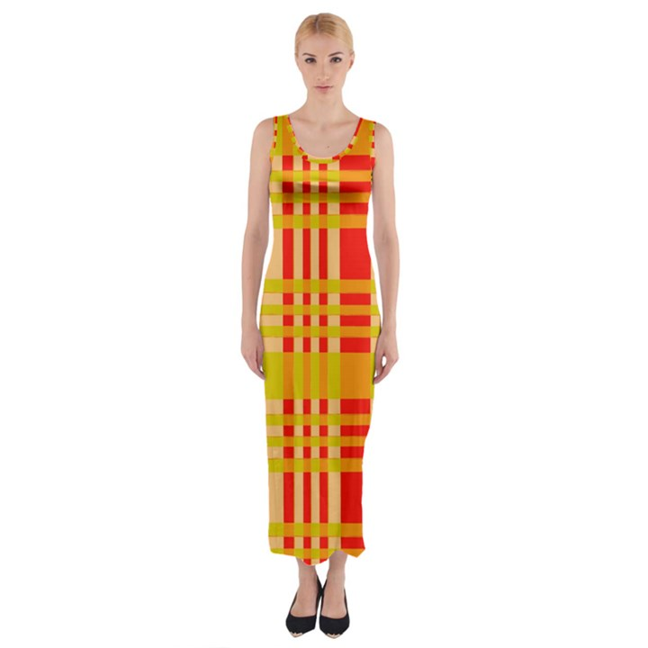 Check Pattern Fitted Maxi Dress