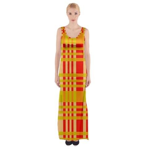 Check Pattern Maxi Thigh Split Dress