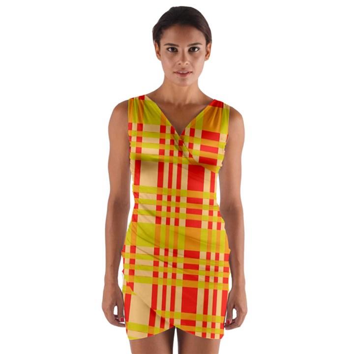 Check Pattern Wrap Front Bodycon Dress