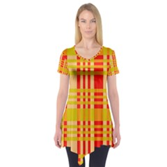 Check Pattern Short Sleeve Tunic