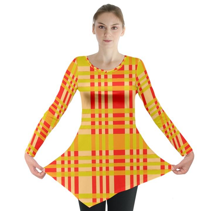Check Pattern Long Sleeve Tunic