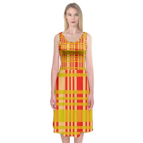 Check Pattern Midi Sleeveless Dress