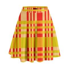 Check Pattern High Waist Skirt