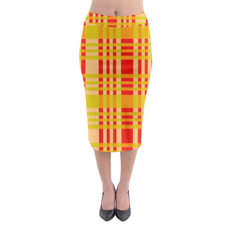 Check Pattern Midi Pencil Skirt