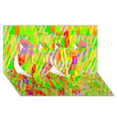 Cheerful Phantasmagoric Pattern Twin Hearts 3D Greeting Card (8x4)