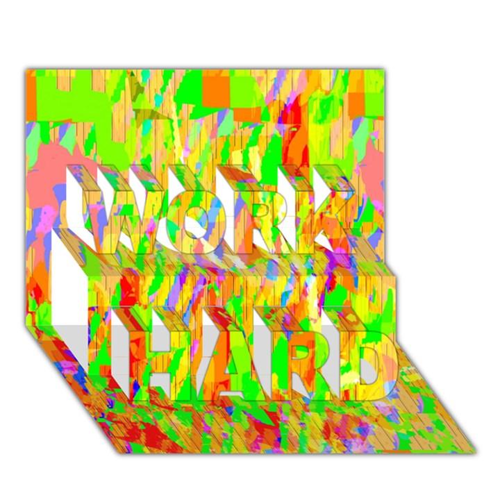 Cheerful Phantasmagoric Pattern WORK HARD 3D Greeting Card (7x5)