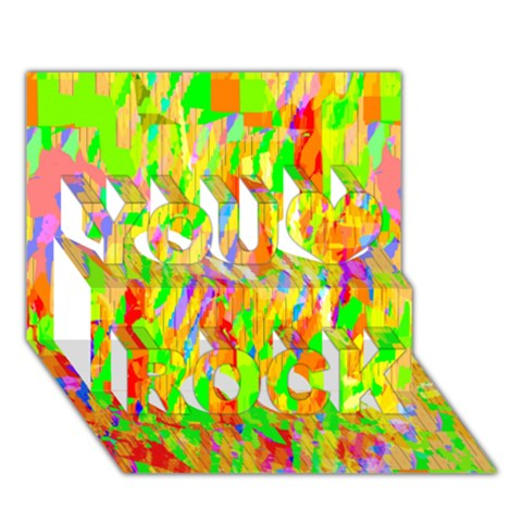 Cheerful Phantasmagoric Pattern You Rock 3D Greeting Card (7x5)