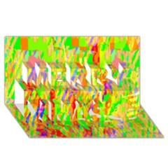 Cheerful Phantasmagoric Pattern Merry Xmas 3D Greeting Card (8x4)