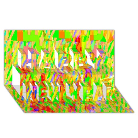 Cheerful Phantasmagoric Pattern Happy New Year 3D Greeting Card (8x4)
