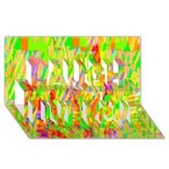 Cheerful Phantasmagoric Pattern Laugh Live Love 3D Greeting Card (8x4)