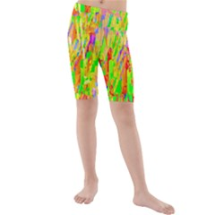 Cheerful Phantasmagoric Pattern Kids  Mid Length Swim Shorts