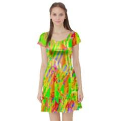 Cheerful Phantasmagoric Pattern Short Sleeve Skater Dress