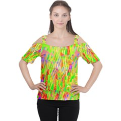 Cheerful Phantasmagoric Pattern Women s Cutout Shoulder Tee