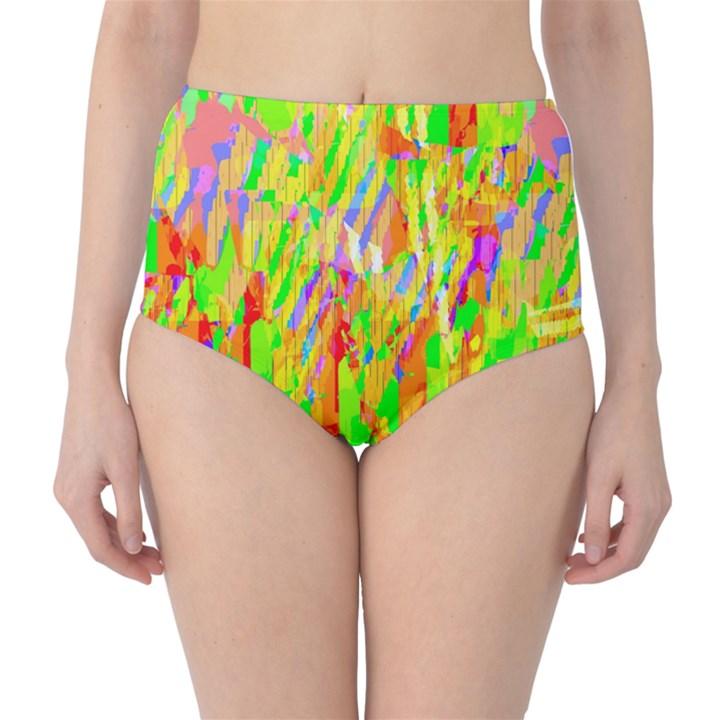 Cheerful Phantasmagoric Pattern High-Waist Bikini Bottoms