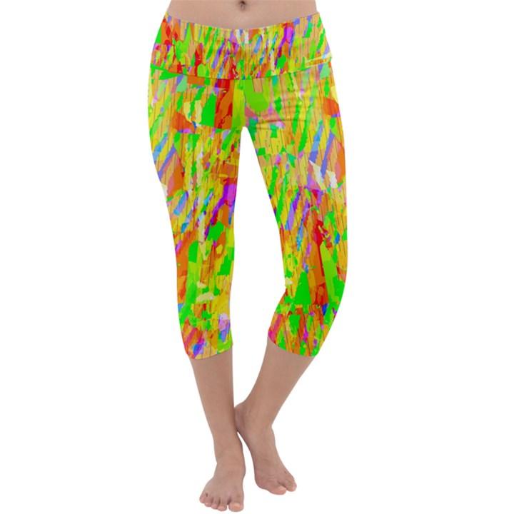Cheerful Phantasmagoric Pattern Capri Yoga Leggings
