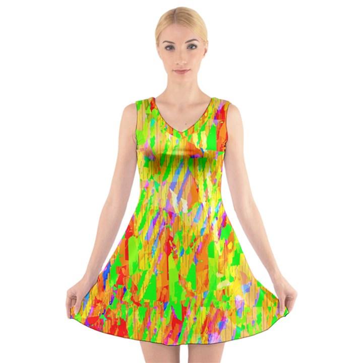 Cheerful Phantasmagoric Pattern V-Neck Sleeveless Skater Dress