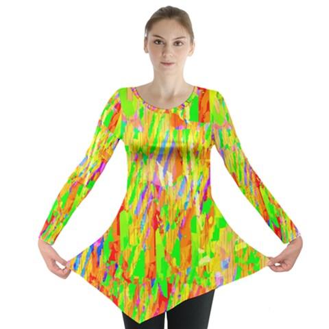 Cheerful Phantasmagoric Pattern Long Sleeve Tunic