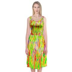 Cheerful Phantasmagoric Pattern Midi Sleeveless Dress