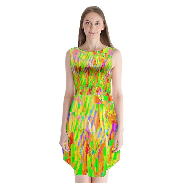 Cheerful Phantasmagoric Pattern Sleeveless Chiffon Dress