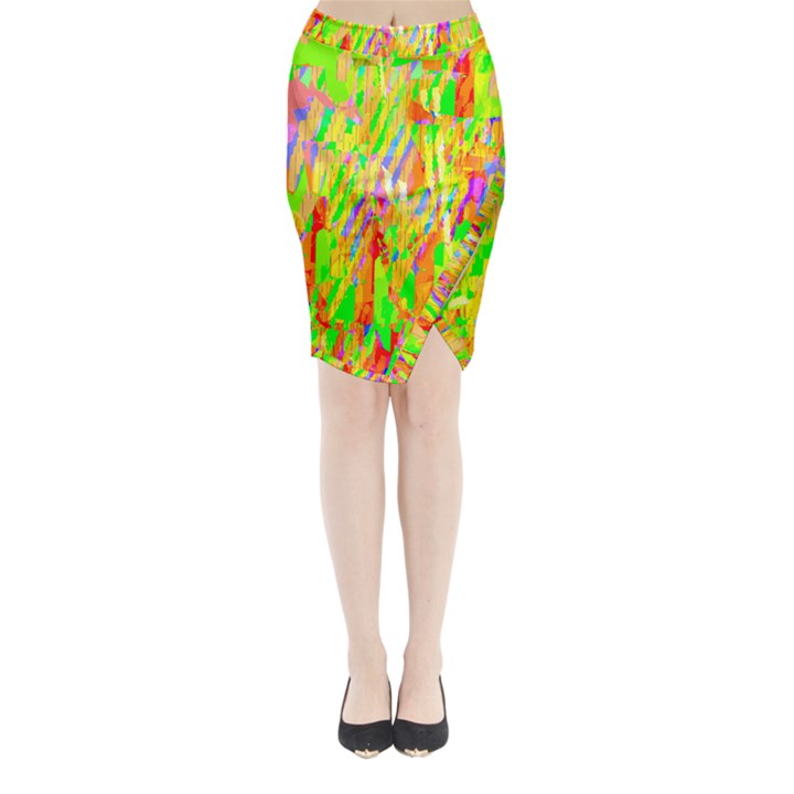 Cheerful Phantasmagoric Pattern Midi Wrap Pencil Skirt