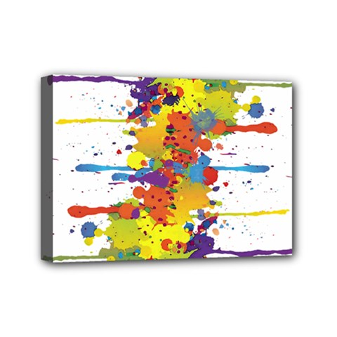 Crazy Multicolored Double Running Splashes Mini Canvas 7  X 5