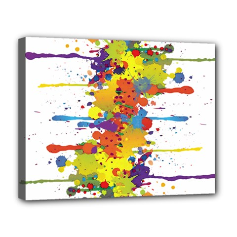 Crazy Multicolored Double Running Splashes Canvas 14  x 11