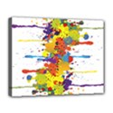 Crazy Multicolored Double Running Splashes Canvas 14  x 11  View1