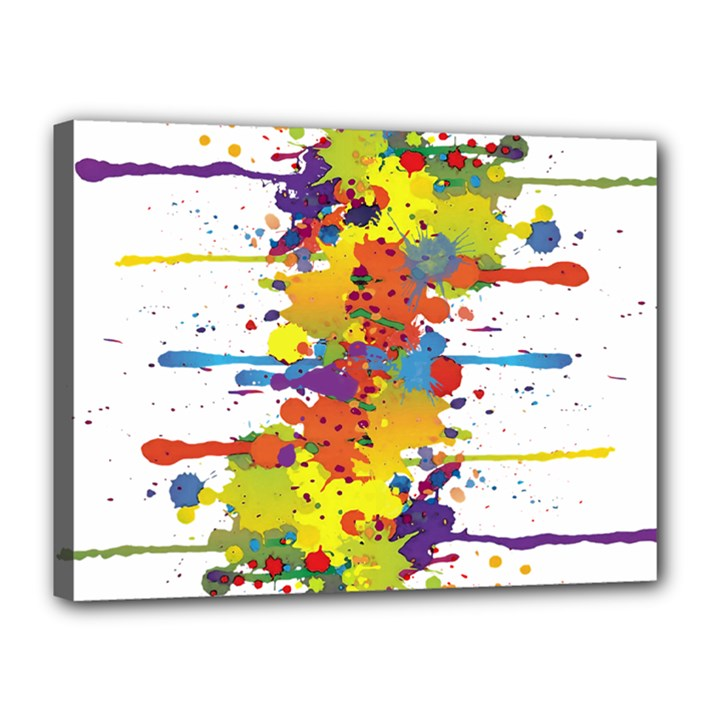 Crazy Multicolored Double Running Splashes Canvas 16  x 12