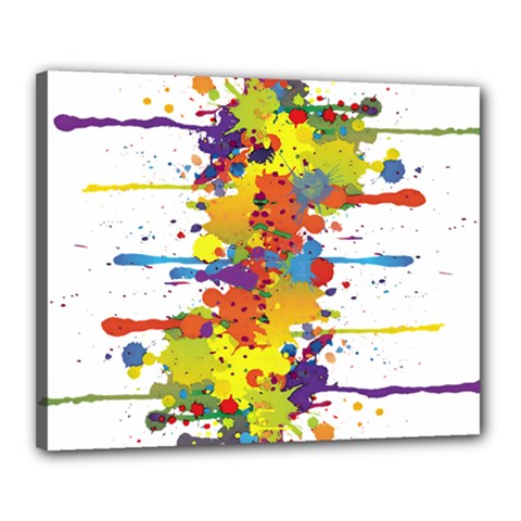 Crazy Multicolored Double Running Splashes Canvas 20  X 16