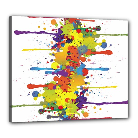 Crazy Multicolored Double Running Splashes Canvas 24  X 20