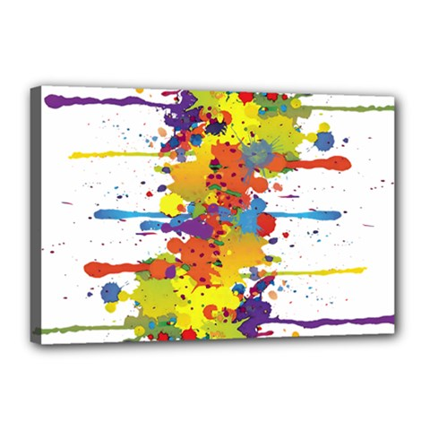 Crazy Multicolored Double Running Splashes Canvas 18  x 12