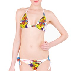 Crazy Multicolored Double Running Splashes Bikini Set