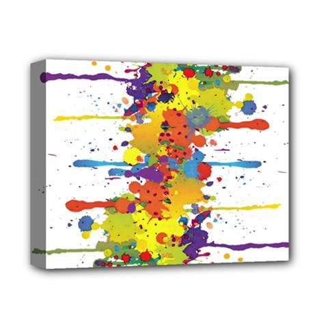 Crazy Multicolored Double Running Splashes Deluxe Canvas 14  x 11