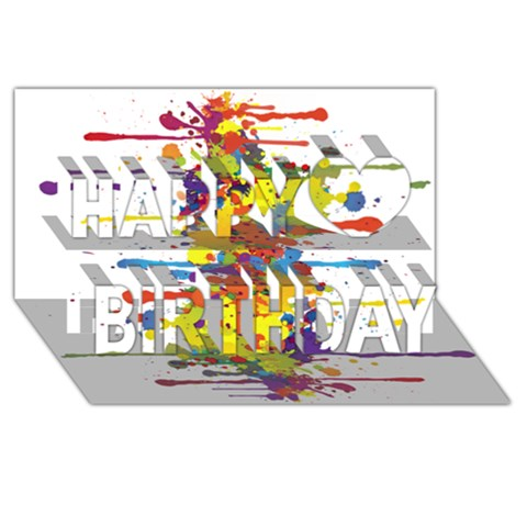 Crazy Multicolored Double Running Splashes Happy Birthday 3D Greeting Card (8x4)