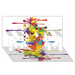 Crazy Multicolored Double Running Splashes MOM 3D Greeting Card (8x4)